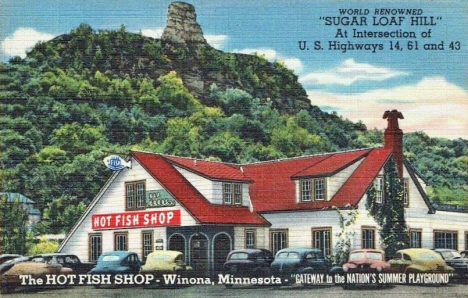 The Hot Fish Shop and Sugar Loaf Mountain, Winona Minnesota, 1947