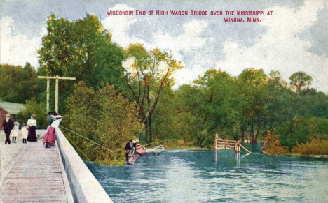 Wisconsin end of High Wagon Bridge over the Mississippi, Winona Minnesota, 1911