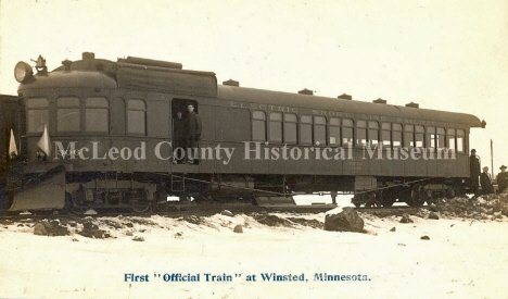 First Train at Winsted Minnesota, 1915