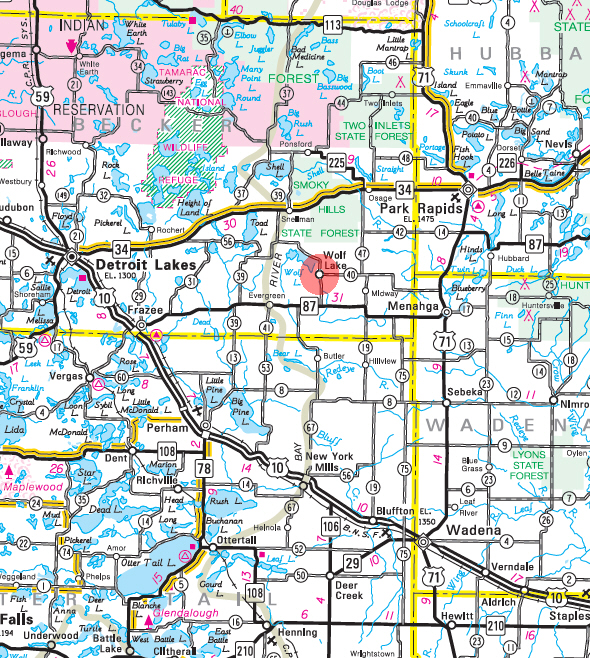 Minnesota State Highway Map of the Wolf Lake Minnesota area