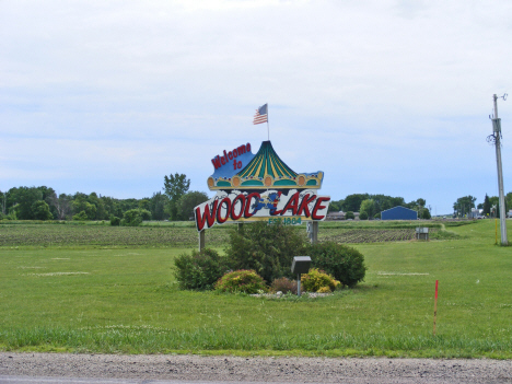 Welcome sign, Wood Lake Minnesota, 2011