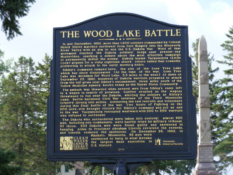 Historic marker at Wood Lake Battlefield, near Wood Lake Minnesota, 2014