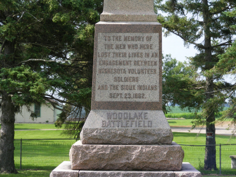 Closeup of base of Monument at Wood Lake Battlefield, near Wood Lake Minnesota, 2014