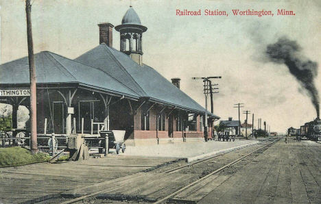 Railroad station, Worthington Minnesota, 1909