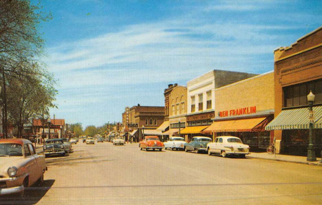 Tenth Street looking west, Worthington Minnesota, 1954