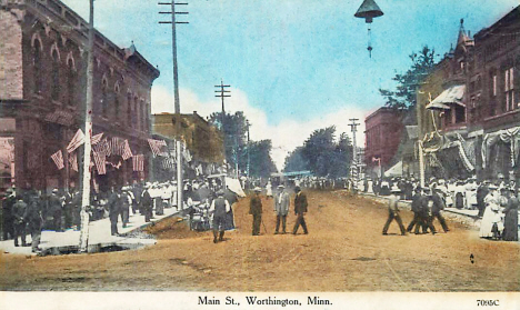 Main Street, Worthington Minnesota, 1907