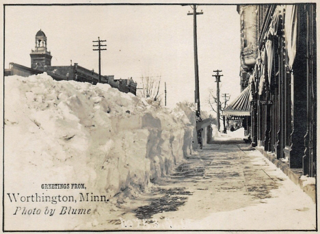 Street scene after winter storm, Worthington Minnesota, 1909