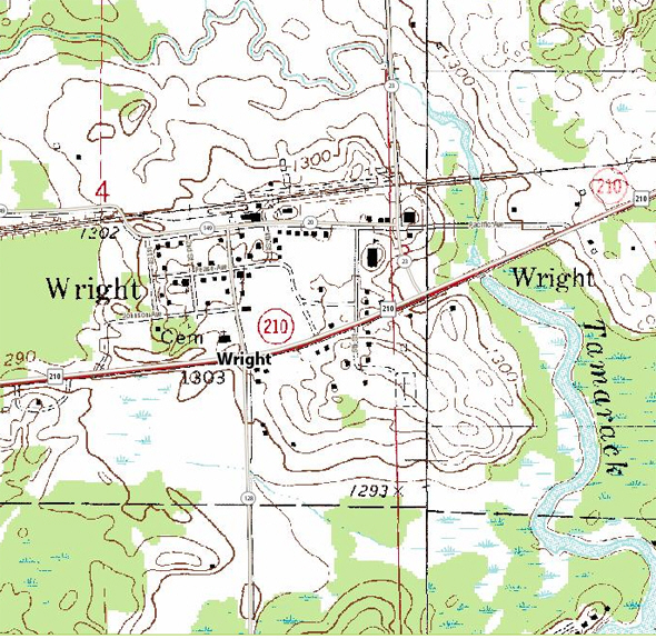 Topographic map of the Wright Minnesota area