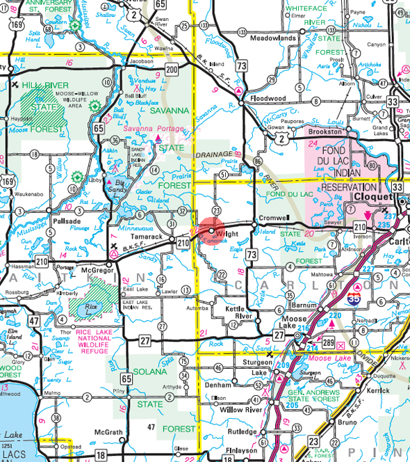 Minnesota State Highway Map of the Wright Minnesota area