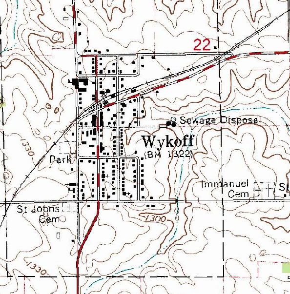 Topographic map of the Wykoff Minnesota area