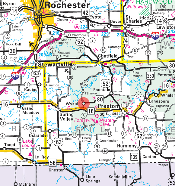 State Highway Map of the Wykoff Minnesota area