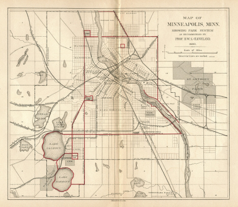 Minneapolis map showing proposed park system, 1883