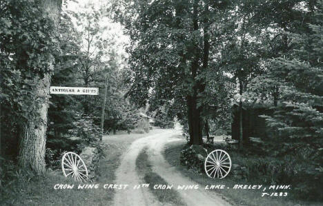 Crow Wing Crest Resort on 11th Crow Wing Lake, Akeley Minnesota, 1950's