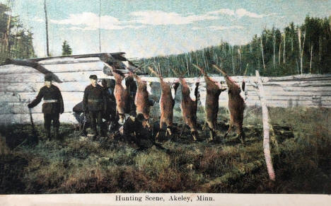 Hunting scene, Akeley Minnesota, 1910's