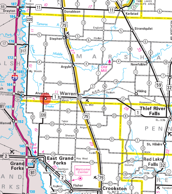 Minnesota State Highway Map of the Alvarado Minnesota area