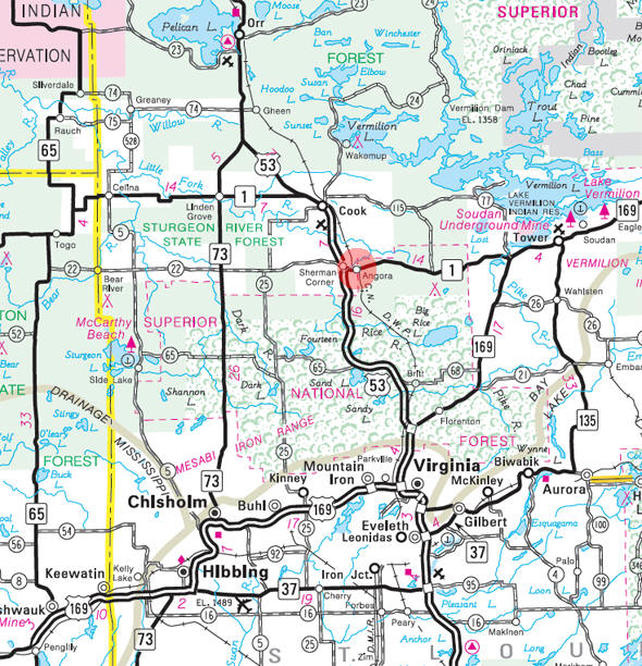 State Highway Map of the Angora Minnesota area