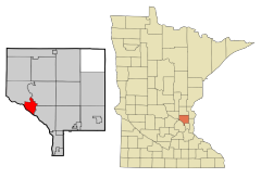 Location of the city of Anoka within Anoka County, Minnesota