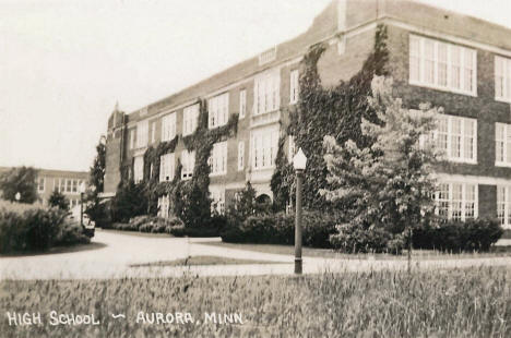 East entrance of the High School, Aurora Minnesota, 1940's