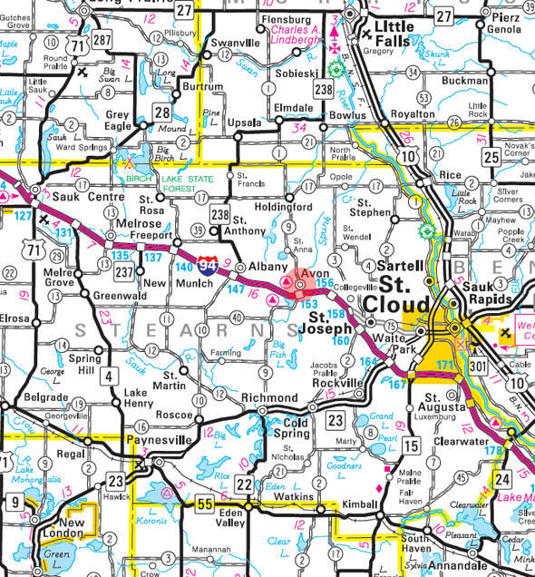 Minnesota State Highway Map of the Avon Minnesota area