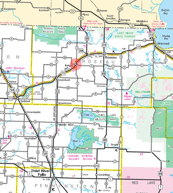 Minnesota State Highway Map of the Badger Minnesota area
