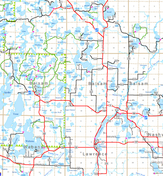 Township map of Balsam Township in Itasca County Minnesota