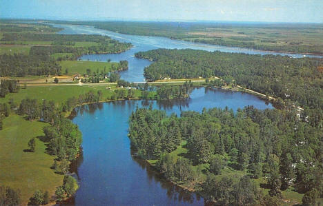 Aerial view of Wabanica Beauty Point, Lake of the Woods, Baudette Minnesota, 1950's
