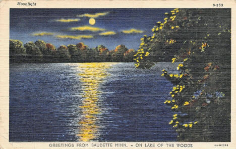 Moonlight view of Lake of the Woods, Baudette Minnesota, 1936