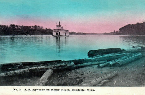 Steamboat SS Agwinde on the Rainy River near Baudette Minnesota, 1909