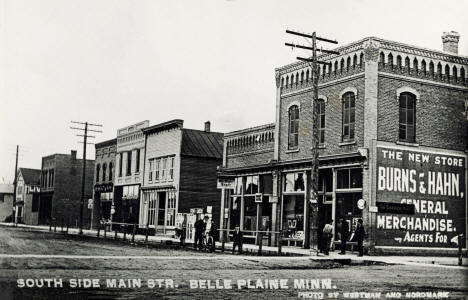 South side of Main Street, Belle Plaine Minnesota, 1905