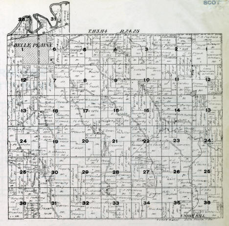 Plat map, Belle Plaine Township, Scott County Minnesota, 1916