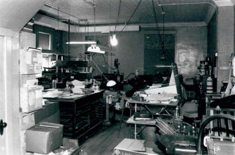 Newspaper printing area at the Belle Plaine Herald, Belle Plaine Minnesota, 1988