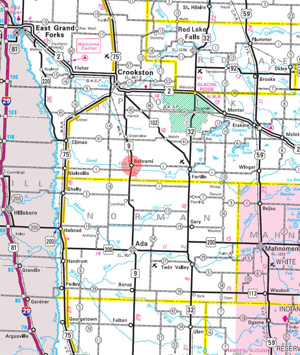 Minnesota State Highway Map of the Beltrami Minnesota area