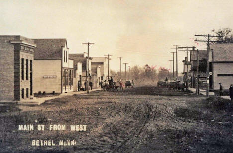 Main Street from west, Bethel Minnesota, 1910's