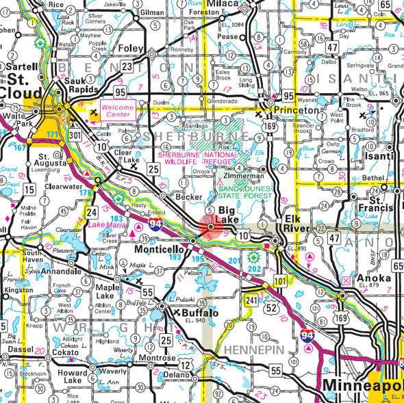 Minnesota State Highway Map of the Big Lake Minnesota area