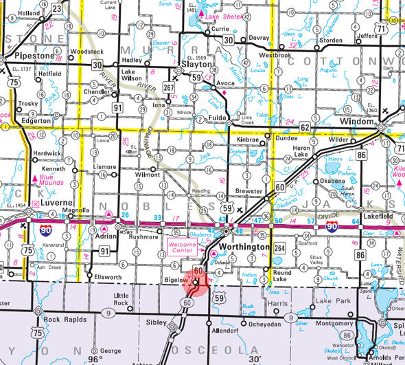 Minnesota State Highway Map of the Bigelow Minnesota area