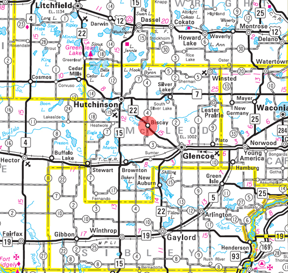 Minnesota State Highway Map of the Biscay Minnesota area
