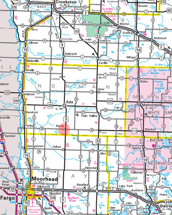 Minnesota State Highway Map of the Borup Minnesota area