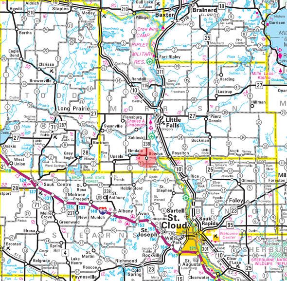 Minnesota State Highway Map of the Bowlus Minnesota area