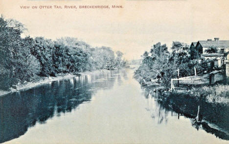 View on Otter Tail River, Breckenridge Minnesota, 1910's
