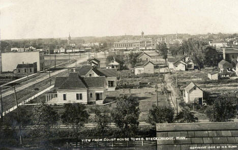 View from Courthouse Tower, Breckenridge Minnesota, 1908