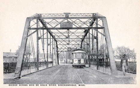 Trolley on Bridge over Bois de Sioux River, Breckenridge Minnesota, 1924