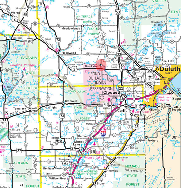 Minnesota State Highway Map of the Brookston Minnesota area