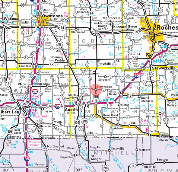Minnesota State Highway Map of the Brownsdale Minnesota area