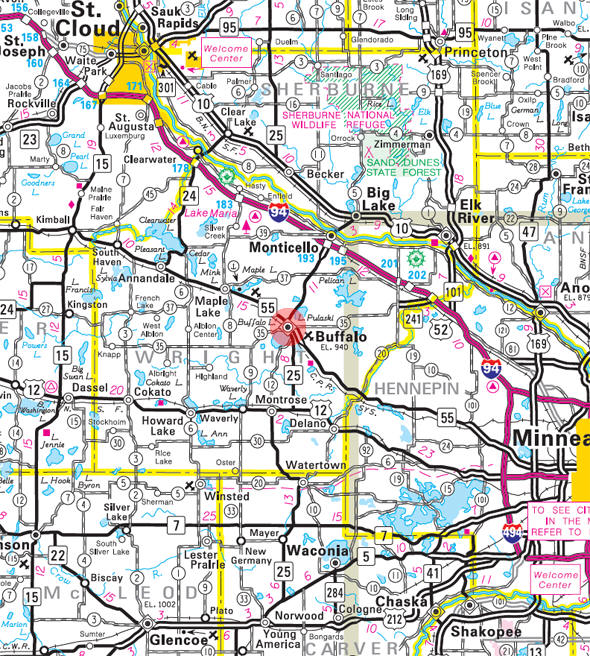 Minnesota State Highway Map of the Buffalo Minnesota area