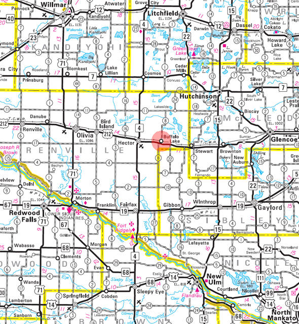 Minnesota State Highway Map of the Buffalo Lake Minnesota area