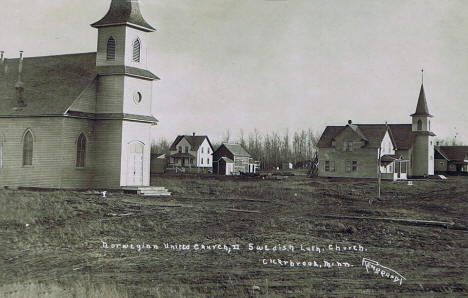Norwegian United Church and Swedish Lutheran Church, Clearbrook Minnesota, 1914