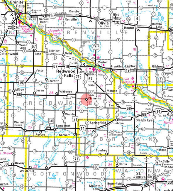 Minnesota State Highway Map of the Clements Minnesota area