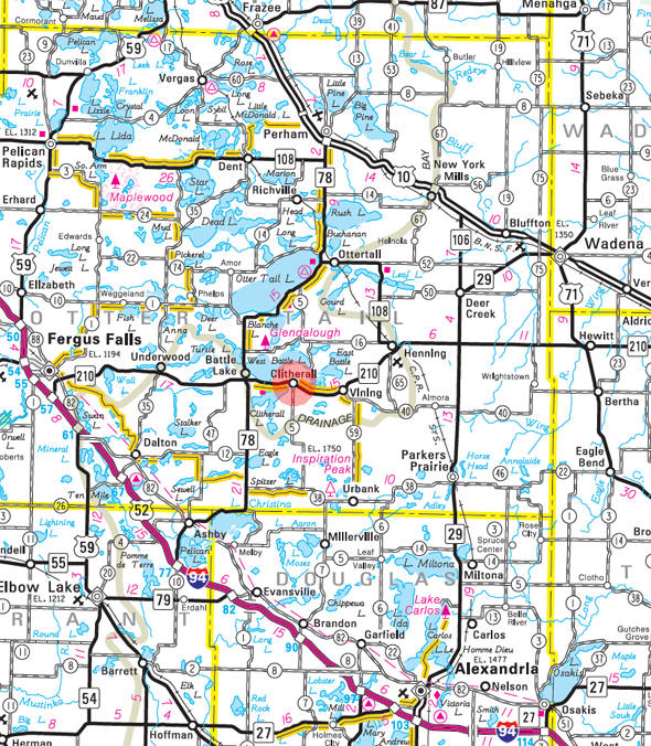 Minnesota State Highway Map of the Clitherall Minnesota area