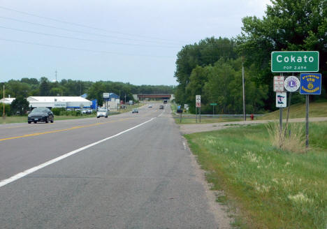 Entering Cokato Minnesota from the east on US Highway 12, 2020
