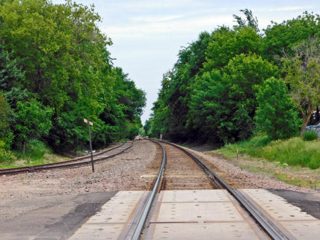 View looking east on the railroad tracks, Cokato Minnesota, 2020